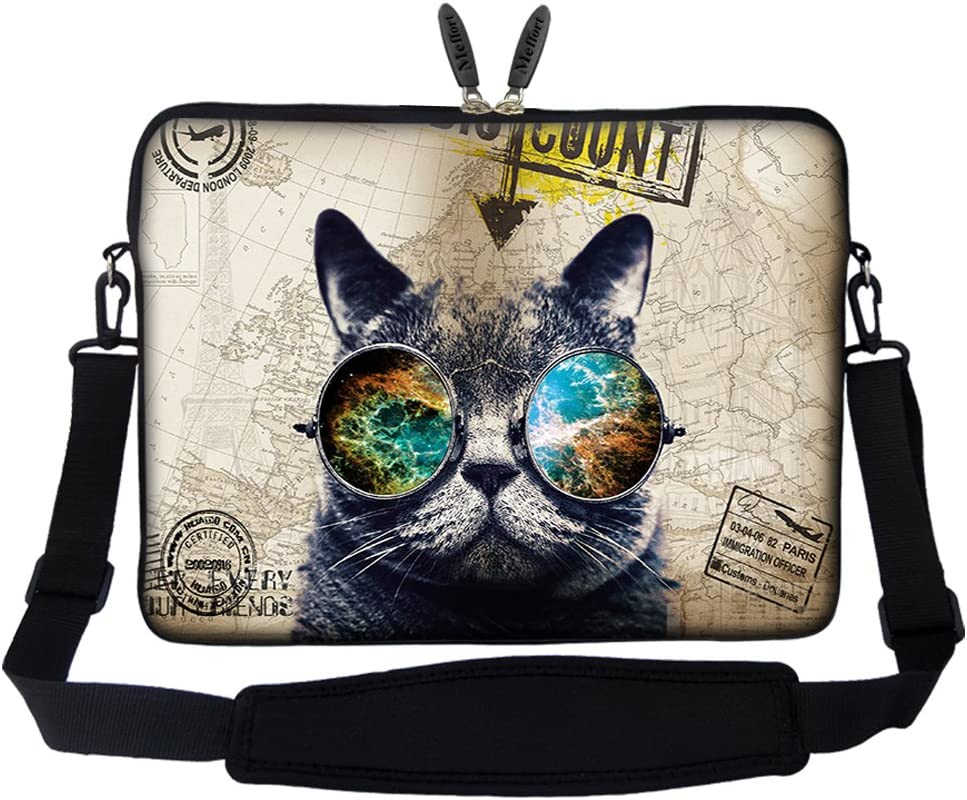 Meffort Inc 17 17.3 inch Neoprene Laptop Sleeve Bag Carrying Case with Hidden Handle and Adjustable Shoulder Strap - Cool Cat