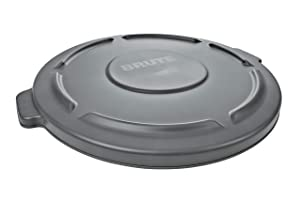 Rubbermaid Commercial Products FG265400GRAY Brute Heavy-Duty Round Trash/Garbage Lid, 55-Gallon, Gray