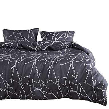 Wake In Cloud - Tree Comforter Set, Branches Pattern Printed on Charcoal Dark Gray Grey, Soft Microfiber Bedding (3pcs, Queen Size)