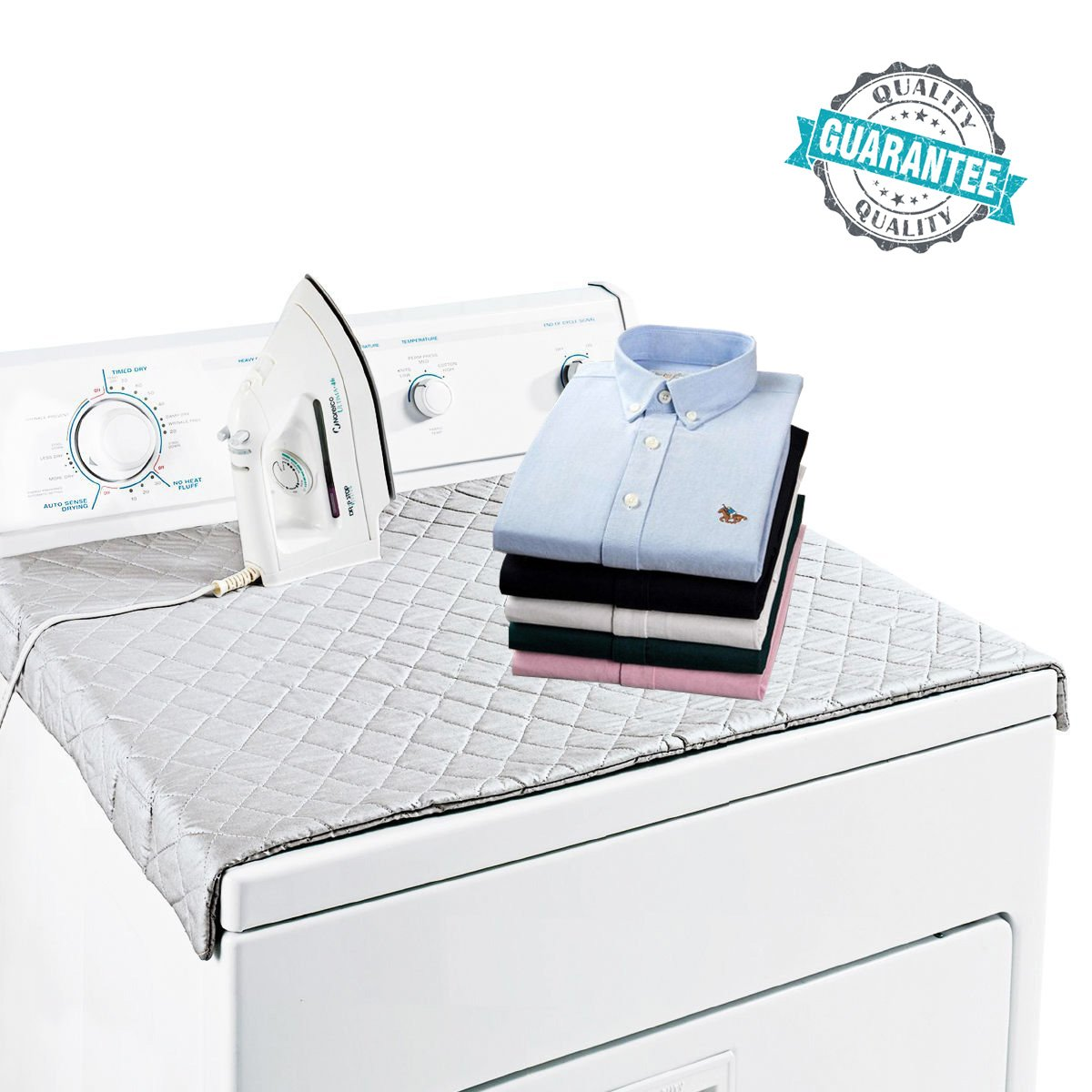 HOMILA Ironing Mat Portable Ironing Blanket Double Strength Magnetic Mat Laundry Pad, 33'' x 18.5'', Quilted Washer Dryer Heat Resistant Ironing Pad