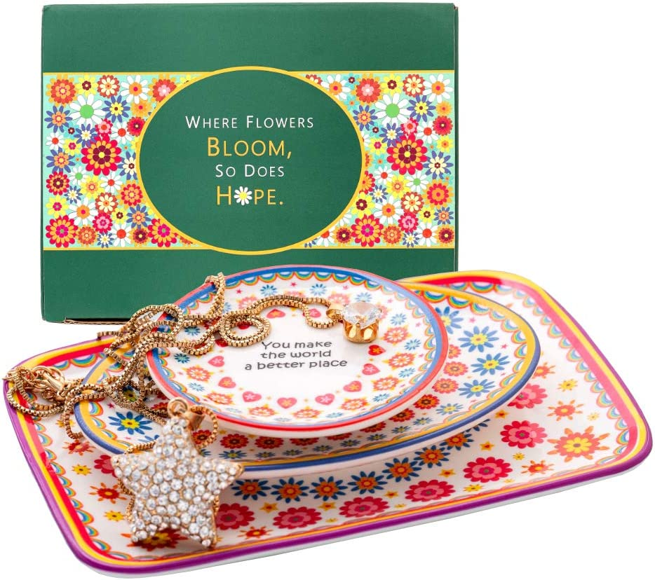 SAMIGAL Jewelry Dish Set of 3, Trinket Tray, Ring Dish Holder for Jewelry, Trinket Dish, Jewelry Dish Tray, Ring Dish Engagement, Wedding Ring Holder, Womens Jewelry Holder Dish
