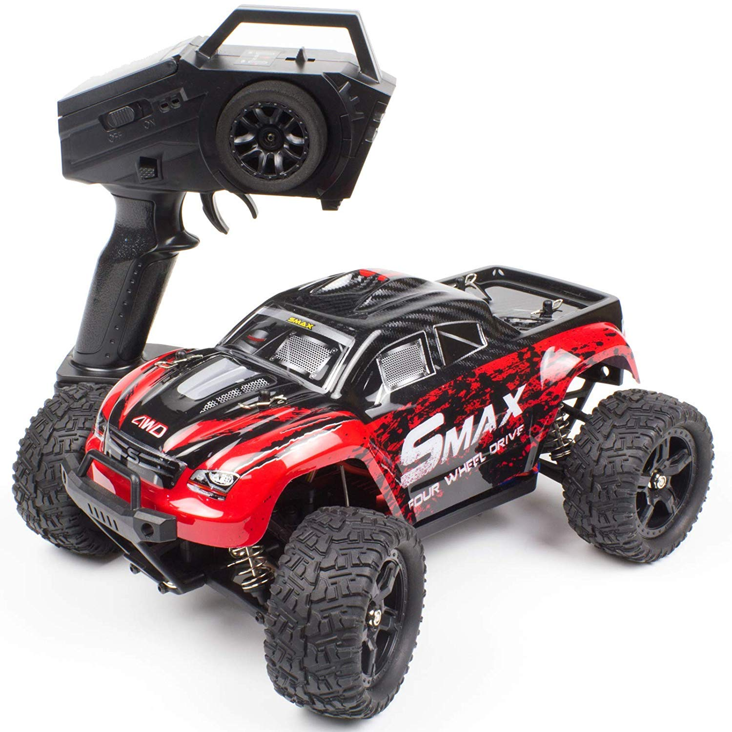 Cheerwing 1:16 2.4Ghz 4WD High Speed RC Off-Road Monster Truck Brushed Remote Control Car, Red New Ver.