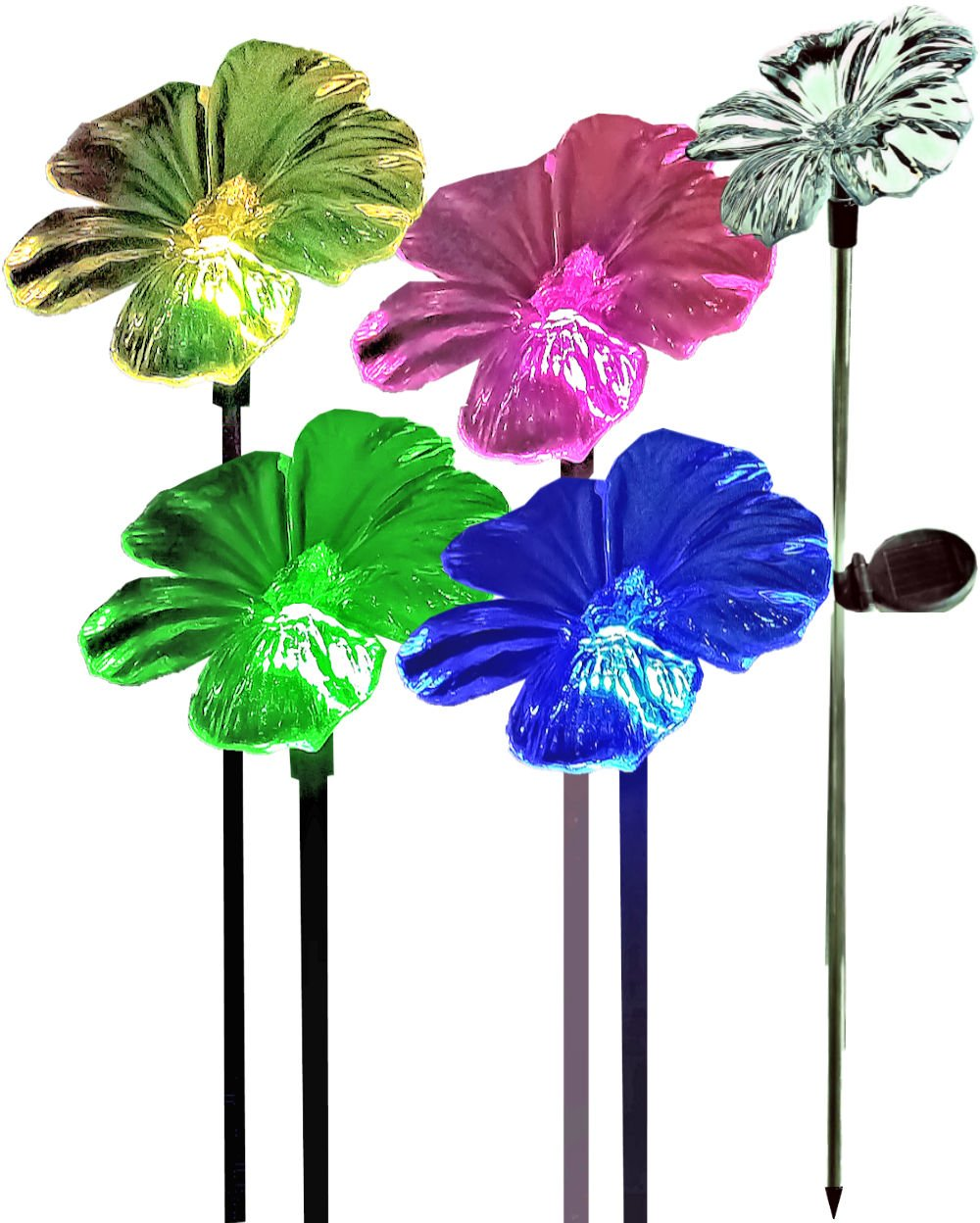 BRILLIANT AND MO Brilliant & Mo Set of 2 Acrylic Trumpet Flower Garden Stakes Solar Flower Light For Home Patio Deck Lawn Yard Decor