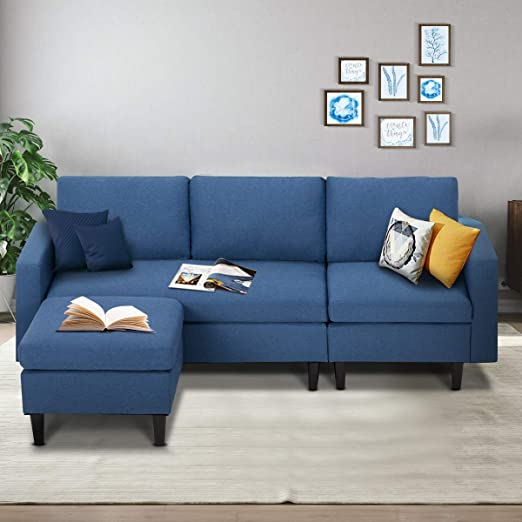 Amazon Com Esright Small Sectional Sofa Couch 3 Seat Living Room Small Convertible Couch Modern Linen Fabric L Shape Couch With Chaise Lounge For Small Space Apartment Blue Kitchen Dining