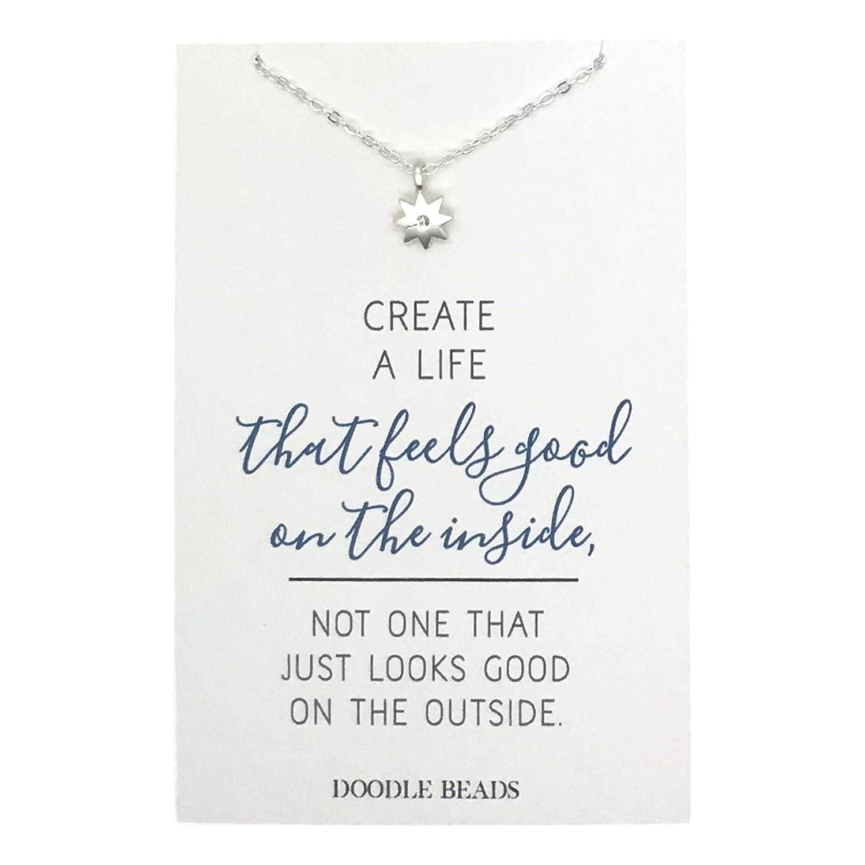 Amazoncom Doodle Beads Tiny Sunburst Necklace With Uplifting Quote