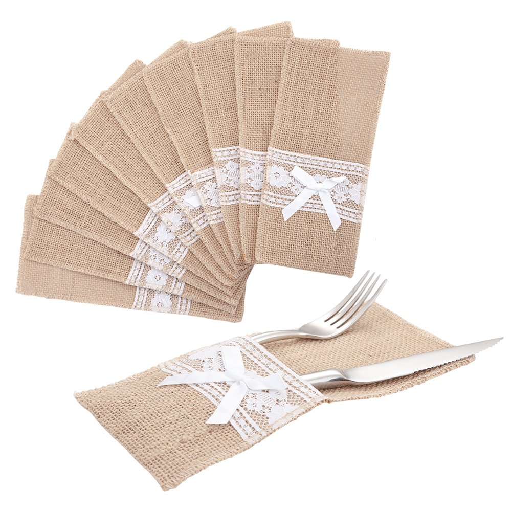 handrong 20pcs Natural Burlap Silverware Napkin Holder Knife Fork Cutlery Lace Bowknot Pouch 4x8.5 inch Tableware Utensils Bag for Rustic Wedding Party Bridal Shower Christmas Favor Decorations Gifts
