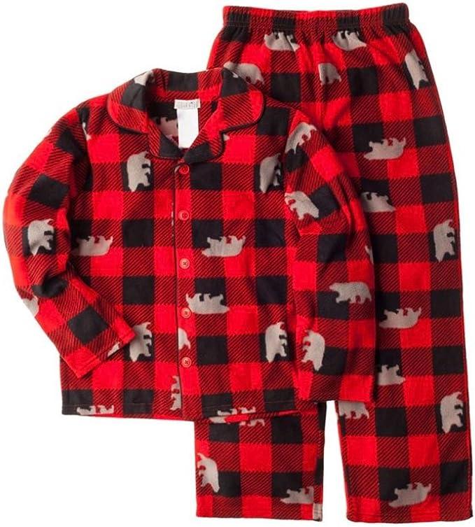Komar Kids Boys Gray Red Camping Outdoors Coat-Style Micro Fleece Pajamas