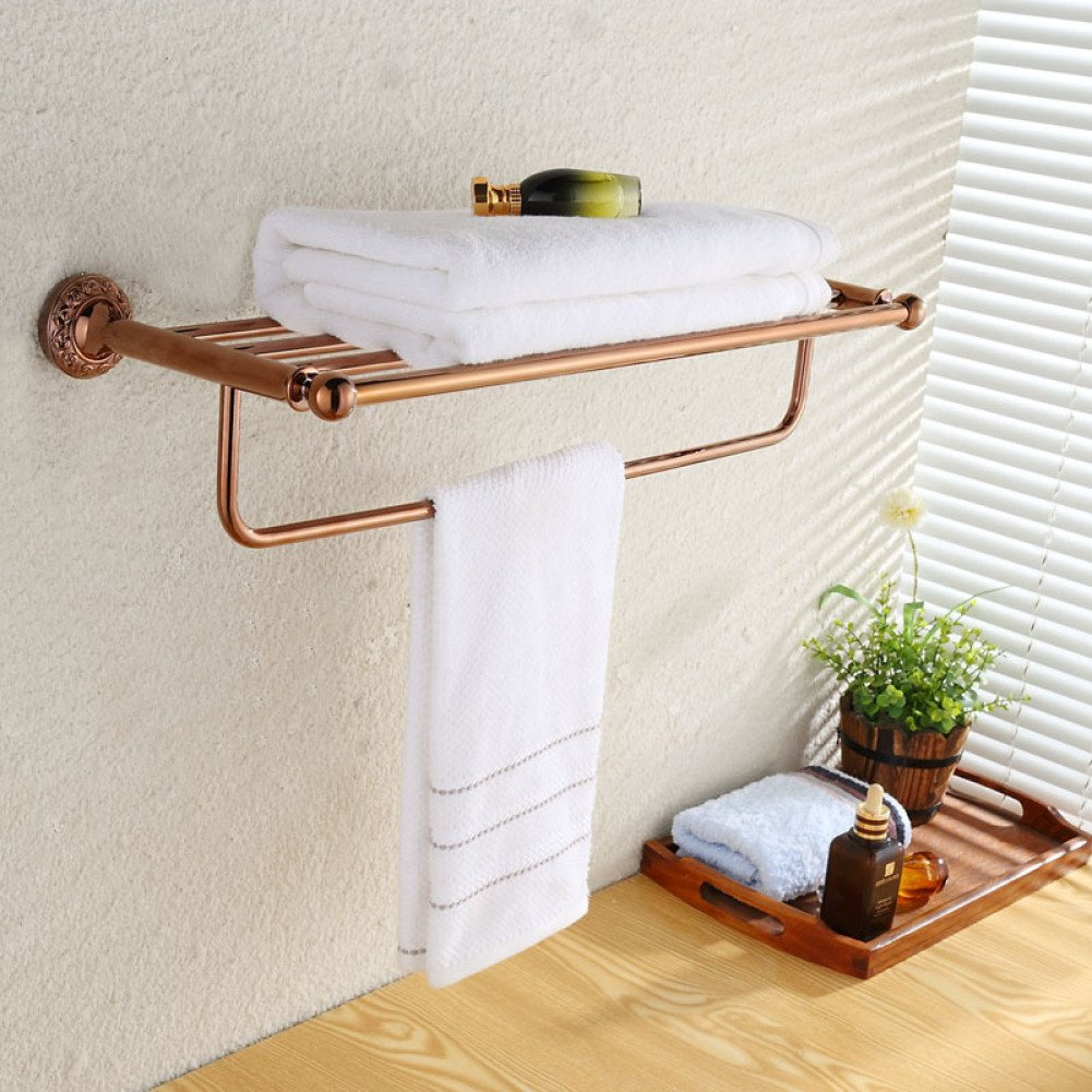 LJ&L European-style bathroom double-decker towel rack, corrosion-resistant, easy to clean, hard-wearing drilling installation, hotel bathroom decoration rose gold shelves,rose gold,Length 62cm
