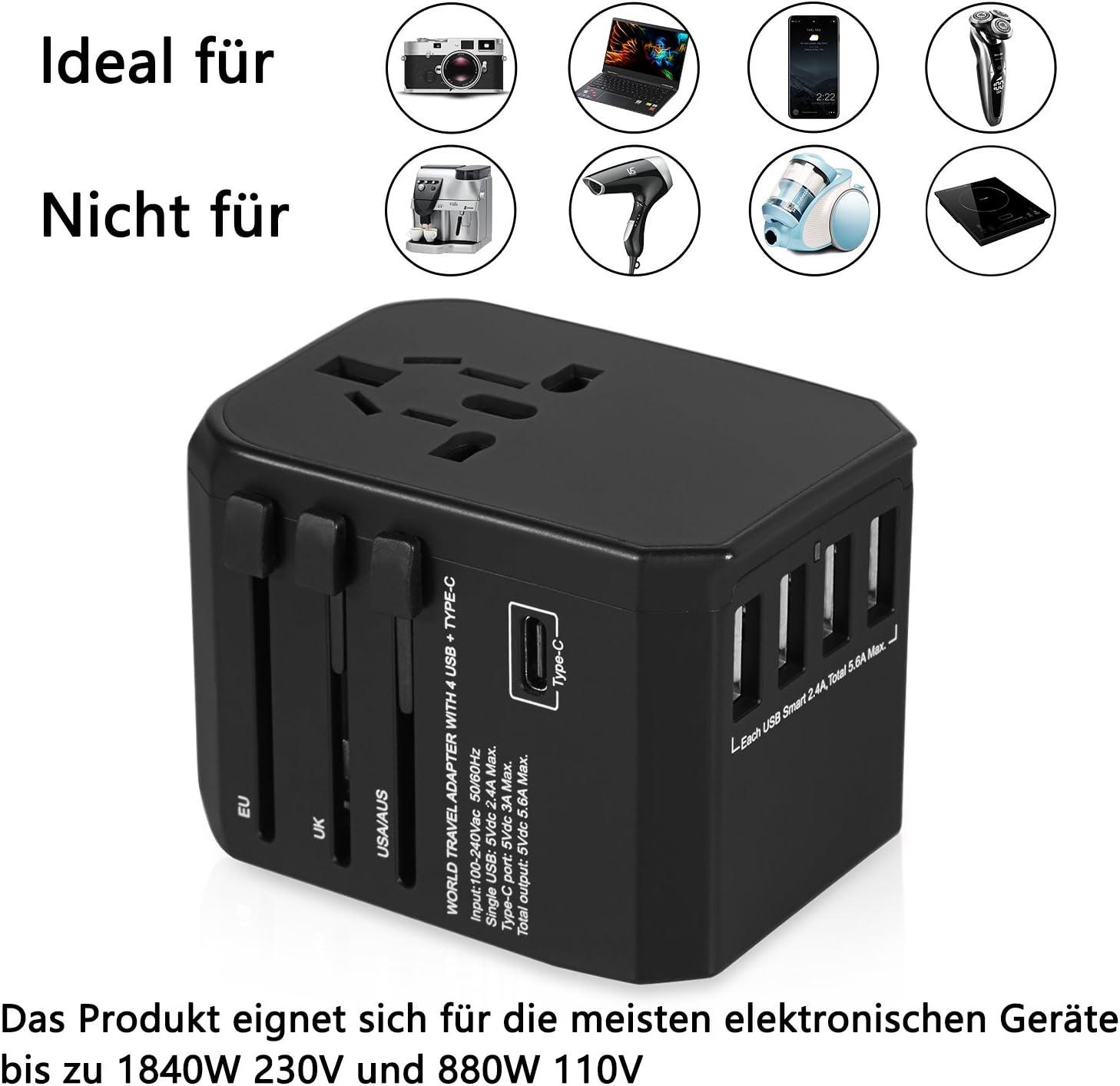 avec 4/ports de recharge USB Type-C prise secteur universelle de s/écurit/é Fusionn/é Mibote dans le monde entier adaptateur de voyage international Plug US UK EU au