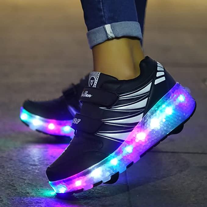 strengths Boys Girls Glint LED Light Up Double Single Wheel Roller Skate Shoes Fashion Sports Flashing Sneaker Kids