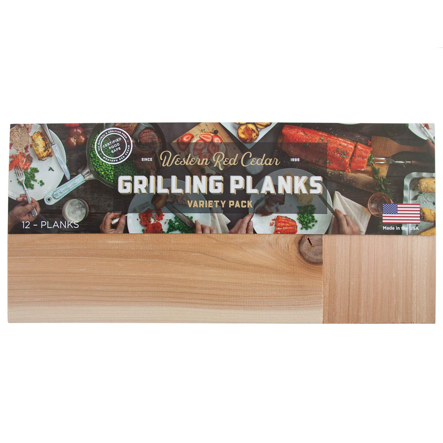 Cedar Grilling Plank Party Pack - 12 Planks in a Variety of 3 Sizes - XL, Large & Small