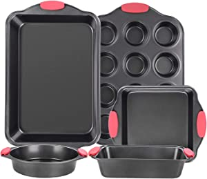Nonstick Bakeware Sets, 5 pcs Baking sets with Grips includes Bread Pan, Cookie Sheet, Square Baking Pan, Round Cake Pan and Muffin Pan for Toaster Oven