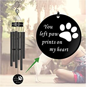 MEMGIFT Pet Sympathy Wind Chimes for Loss of Dog Cat Paw Print Memorial Large Deep Tone Dog Rememberance Windchimes Déco Outside Outdoor Garden Porch Patio You Left Paw Prints on My Heart