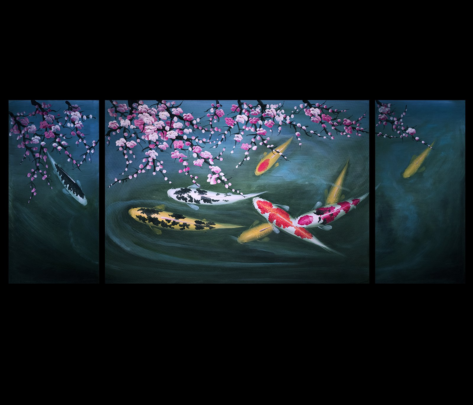 Koi Fish Wall Art Contemporary Art Prints Abstract Art Modern Wall Art Décor Canvas Prints by Fengshui-paintings.com