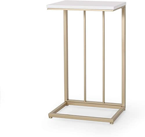 Christopher Knight Home Baywinds Modern Glam C Side Table, Set of 2, White and Champagne Gold