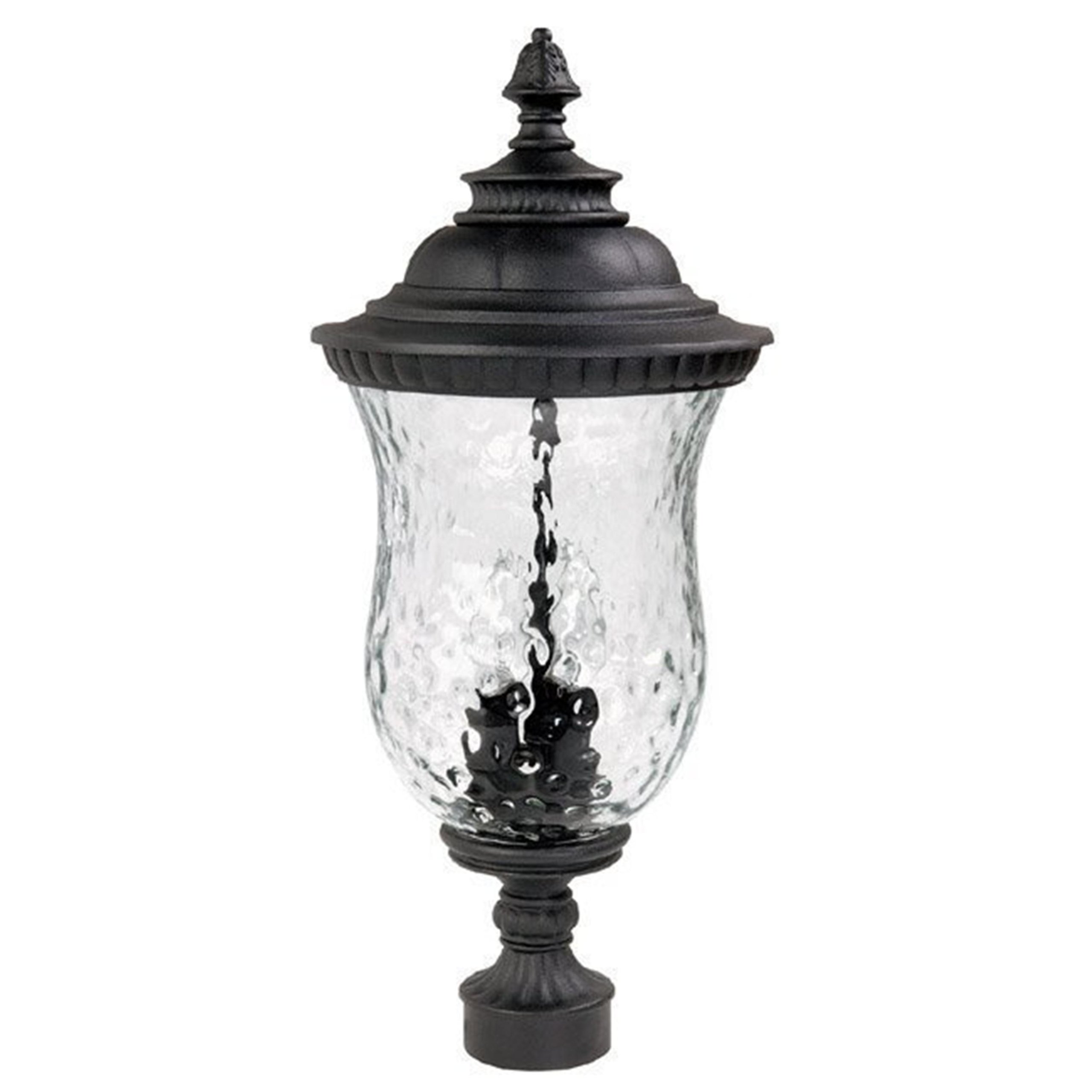 Capital Lighting 9785BK Ashford 3-Light Outdoor Post, Lantern Black with Hammered Glass