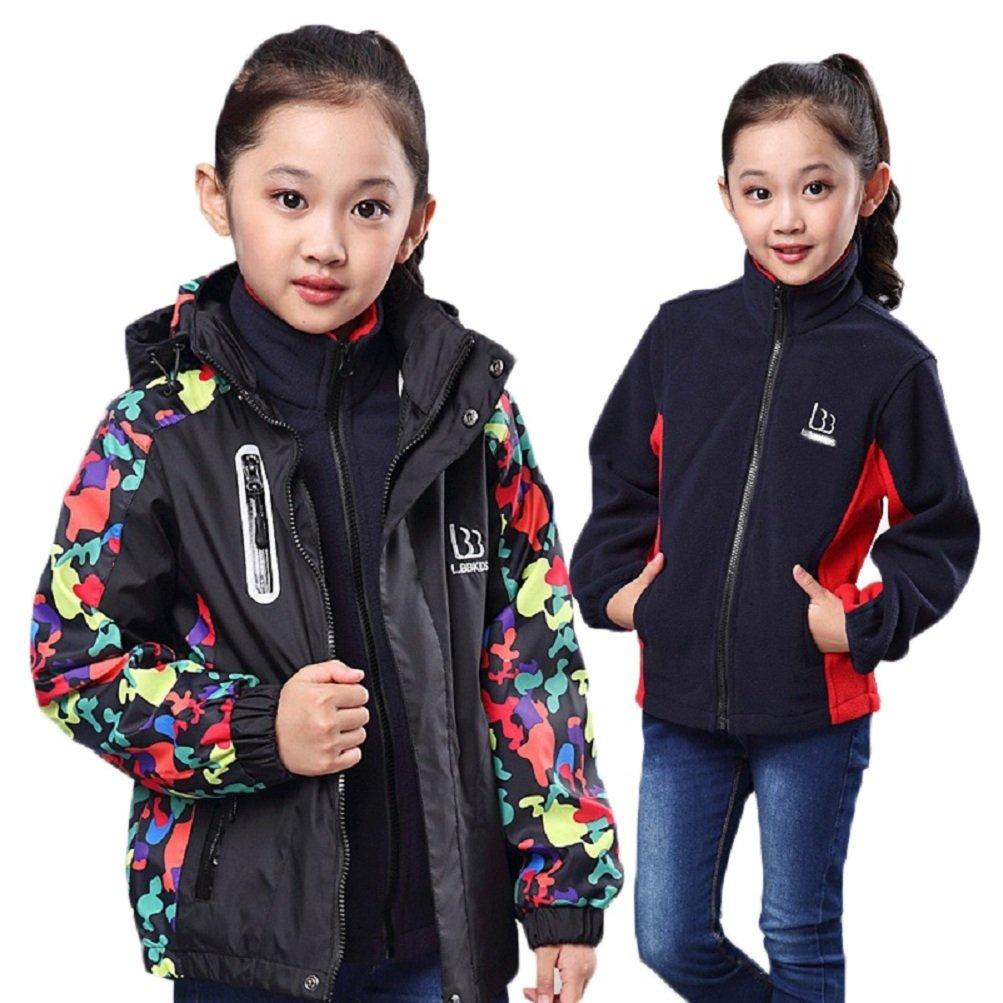 Bakerdani boys girls Three-in-one Jacket Outdoor Sports Two-piece Coat