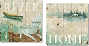 Vintage-Style River and Home Canoe and Adirondack Chair Set by Daphne Brissonnet; Cabin Lodge Decor; Two 12x12in Paper Prints
