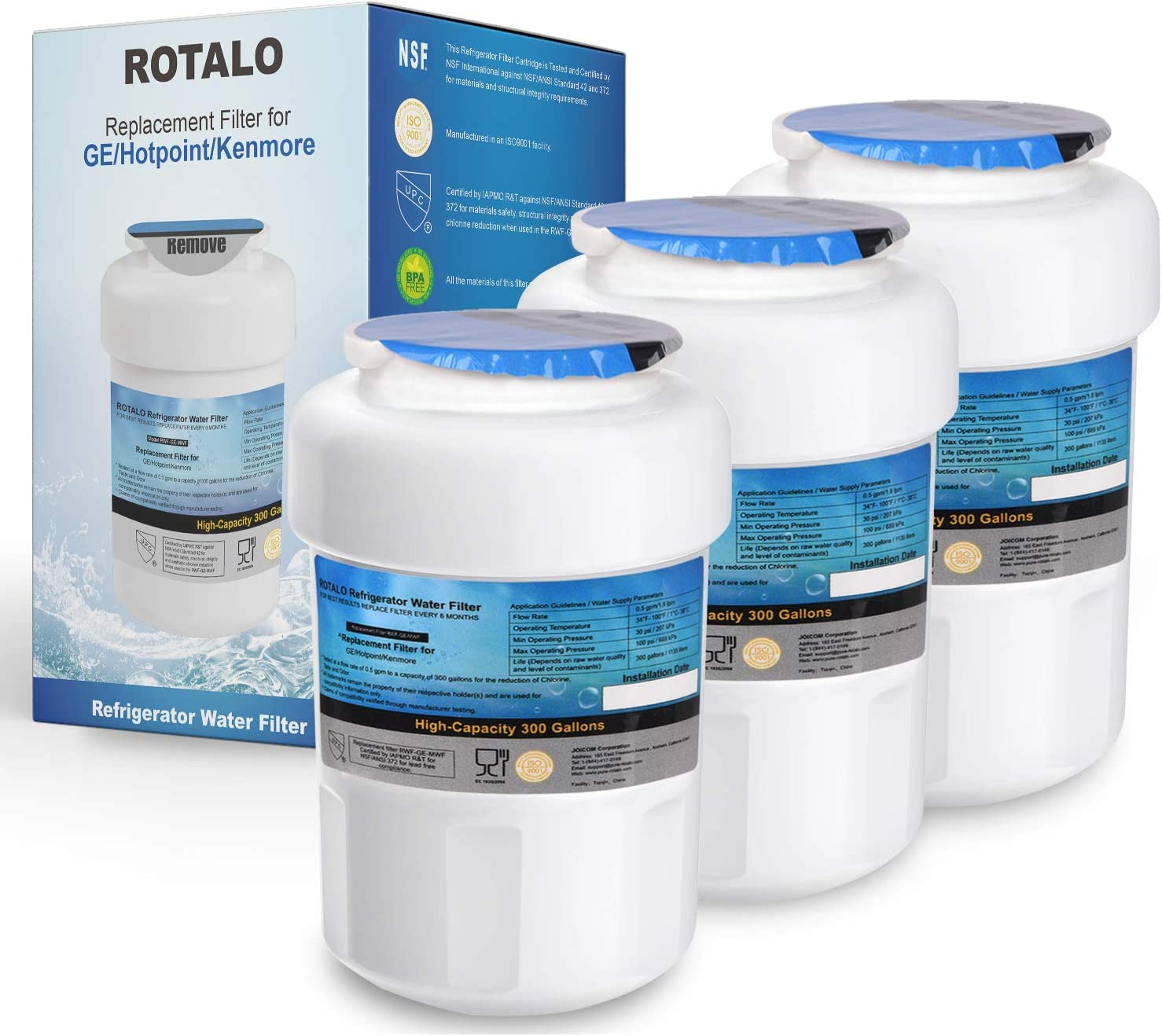ROTALO GE MWF Refrigerator Water Filter Replacement for GE MWF SmartWater MWFA MWFP GWF GWFA Kenmore 9991 46-9991 469991, NSF 42 and 372 Certification (Pack of 3)