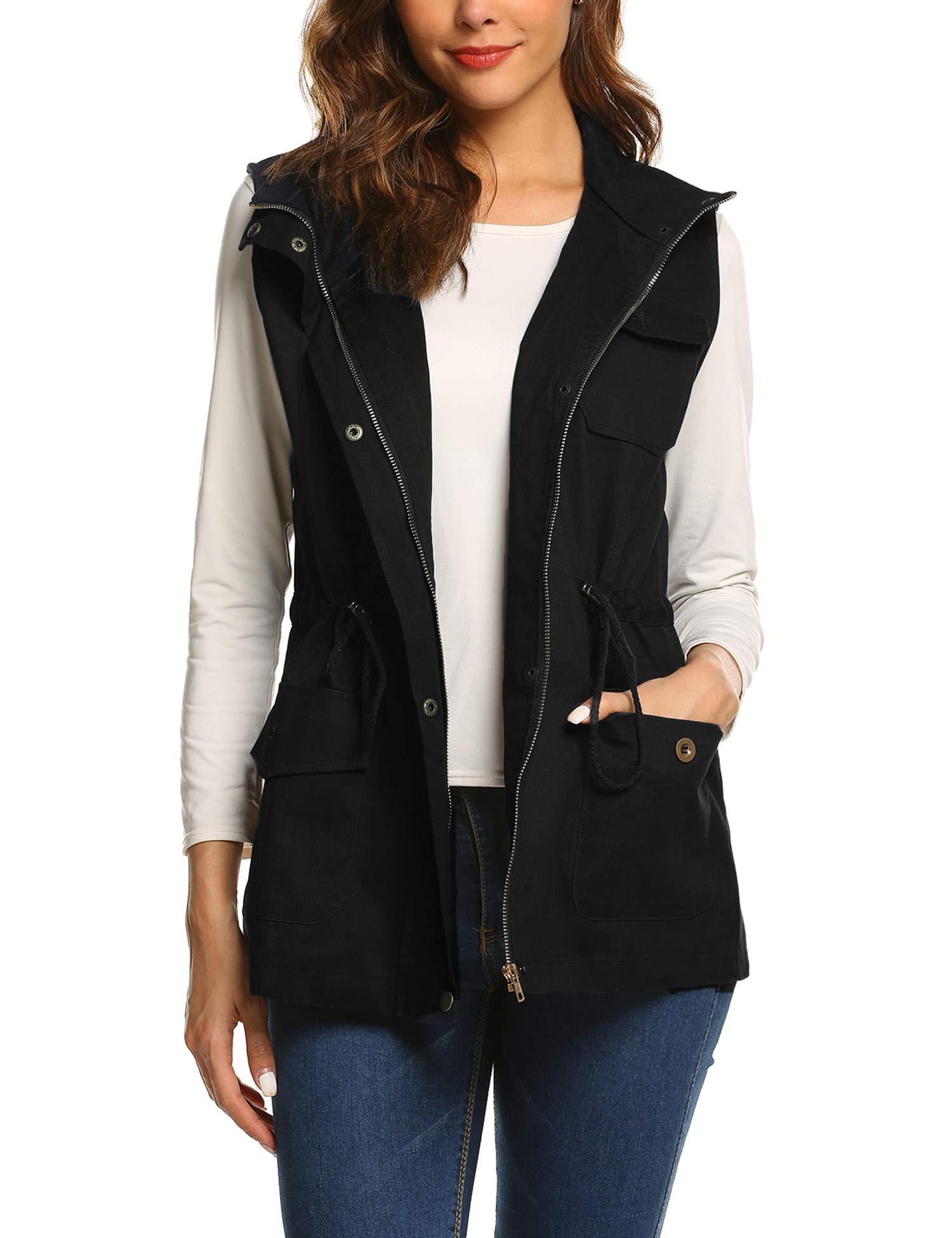 Beyove Womens Lightweight Sleeveless Utility Military Anorak Cotton Vest by Beyove