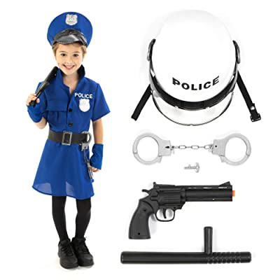 Police Officer Halloween Costume Accessory Kit – Policewoman Kids Outfit & Props: Clothing