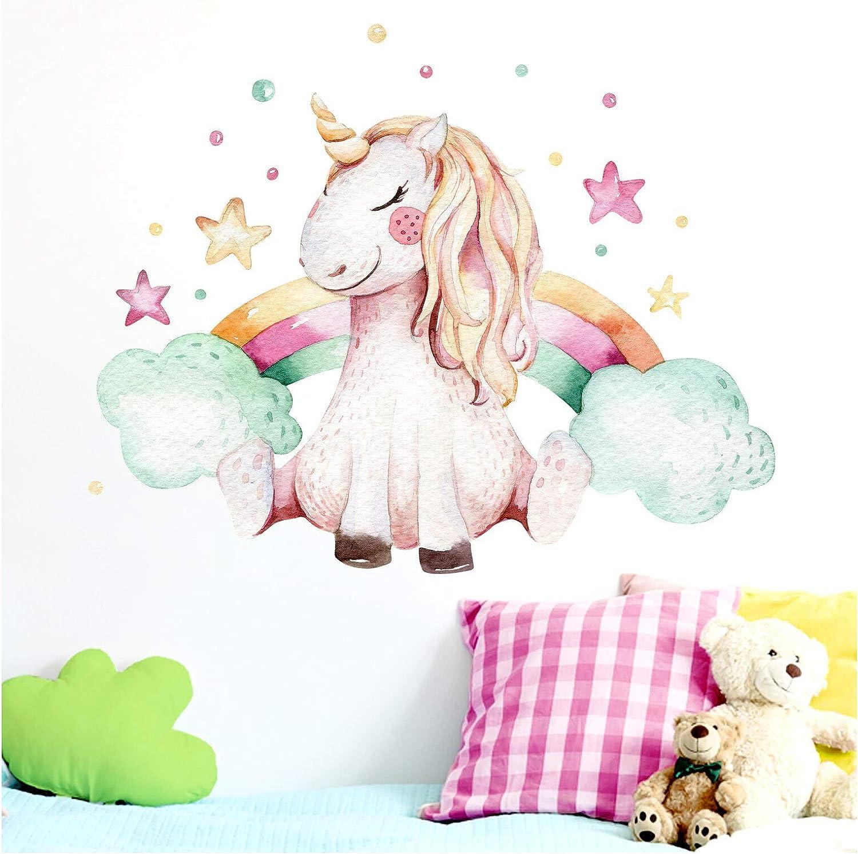 BxH I Wolken Wandsticker Wandtattoo M/ädchen Kinderzimmer Deko Bilder Sticker Aufkleber DL479 Little Deco Wandaufkleber Regenbogen mit Herzen I 56 x 38 cm