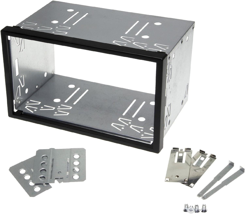 Kfz Auto Radio Blende Halterung Schacht Rahmen 100mm Doppel Din Iso Universal Metall Auto