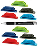 10 Pack Assorted Colors Pen Pal Pen Holders with Custom Advantage Black and Chrome Retractable Pen