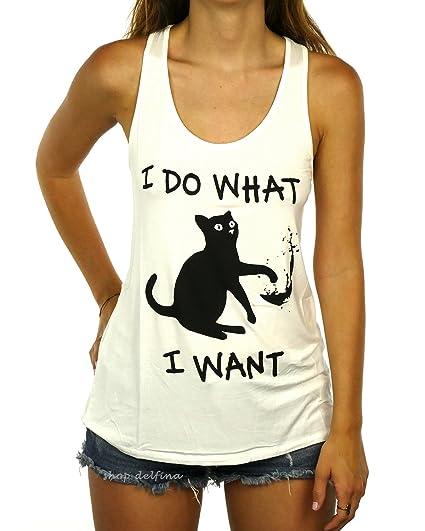 2e6d82a438dc Shop Delfina I do What I Want Kitty Cat Funny Women's Tank Top
