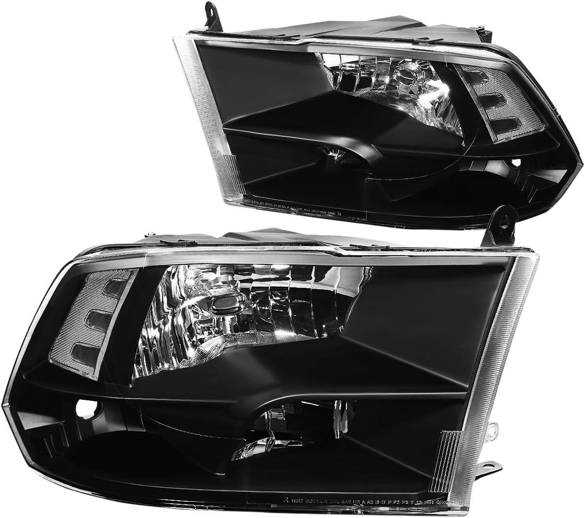 DNA Motoring HL-OH-DR09QUA-BK-CL1 Headlight Assembly (Driver and Passenger Side),Black clear