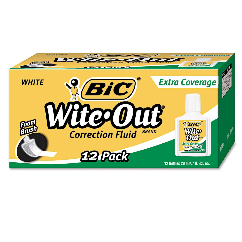 BIC WOFEC12WE Wite-Out Extra Coverage Correction Fluid, 20 ml Bottle, White, 1/Dozen