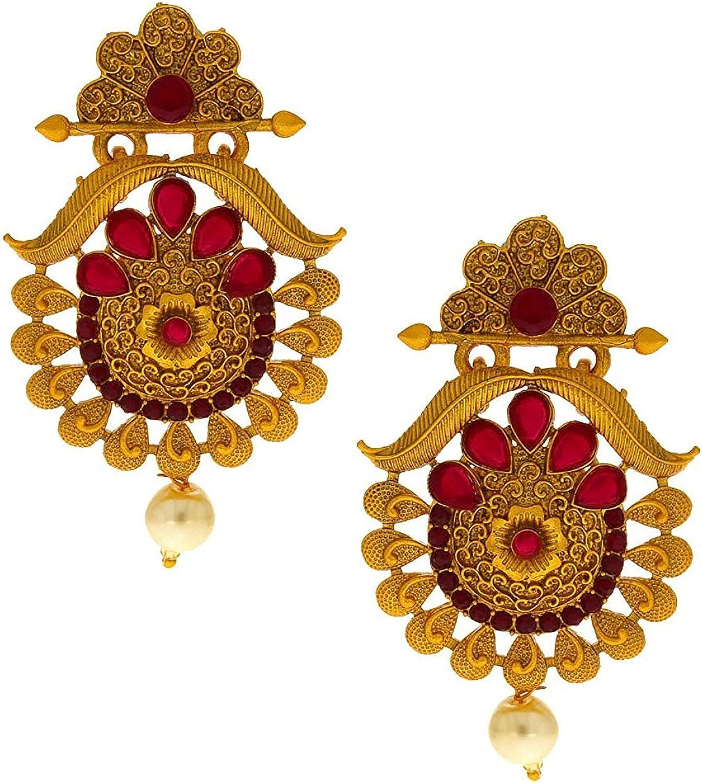Anuradha Art Golden Colour Oval Shape Wonderful Trendy Studs Earrings For Women//Girls