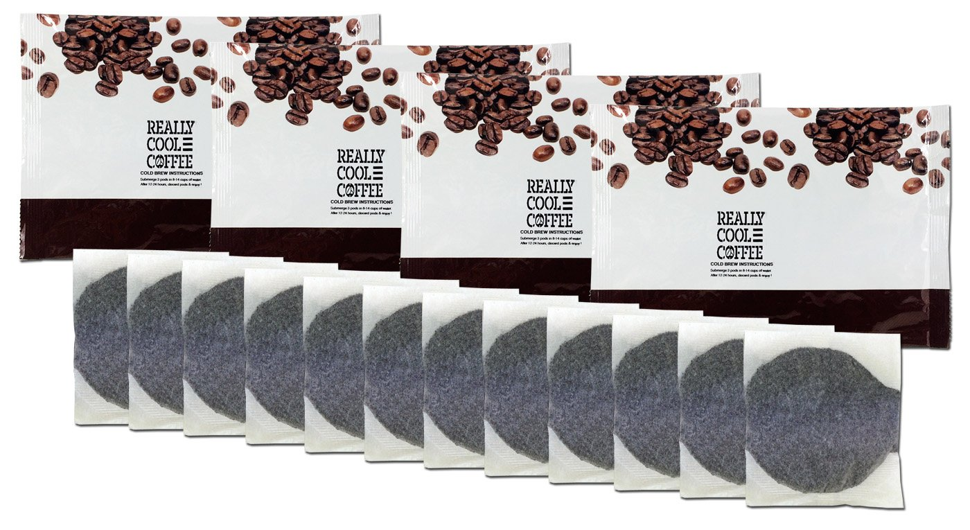 ReallyCoolCoffee Cold Brew Homemade Iced Coffee Kit (4 Foil Pouches, 12 Bags)