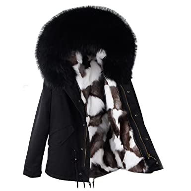 Amazon.com: DF Real Fox - Chaqueta de forro de piel para ...