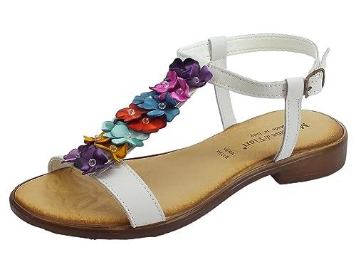 fd4eab2b Mercante di Fiori - Sandalias de Cuero para Mujer Blanco Size: 37 EU