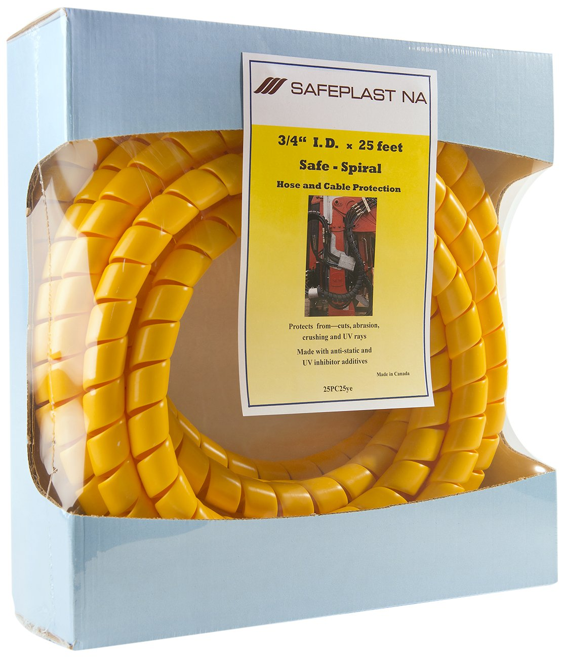 Pre-Cut Spiral Wrap Hose Protector, 1.0'' OD, 25' Length, Yellow