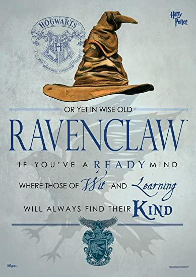 Amazon Com Mightyprint Harry Potter Sorting Hat Ravenclaw Wall Art Decor Next Generation Premium Print Featuring Hogwarts House Quote Poem Posters Prints