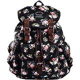 Douguyan Girl Women Canvas Floral School Backpack Cute College Rucksack 297A