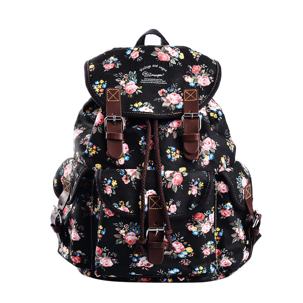ee5c484e06cf Douguyan Women Canvas Floral Teenage School Backpack Lightweight Cute  College Rucksack 297A black