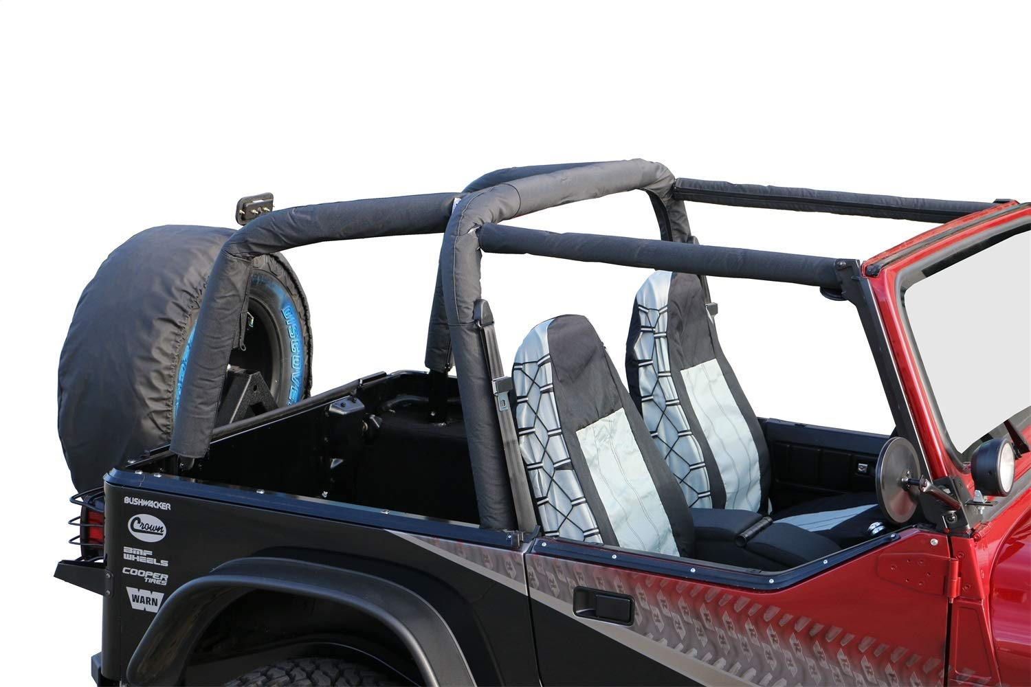 RAMPAGE PRODUCTS 768915 Roll Bar Pad and Cover Kit for 1992-1995 Jeep Wrangler YJ, Black Denim