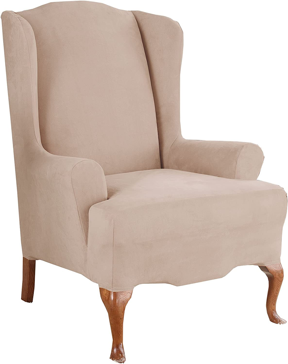 Wing Chair Slipcover Taupe SureFit Stretch Suede