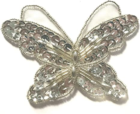 Large Butterfly Beaded Sequined Sew-On Applique Craft Patch Embellishment VTG