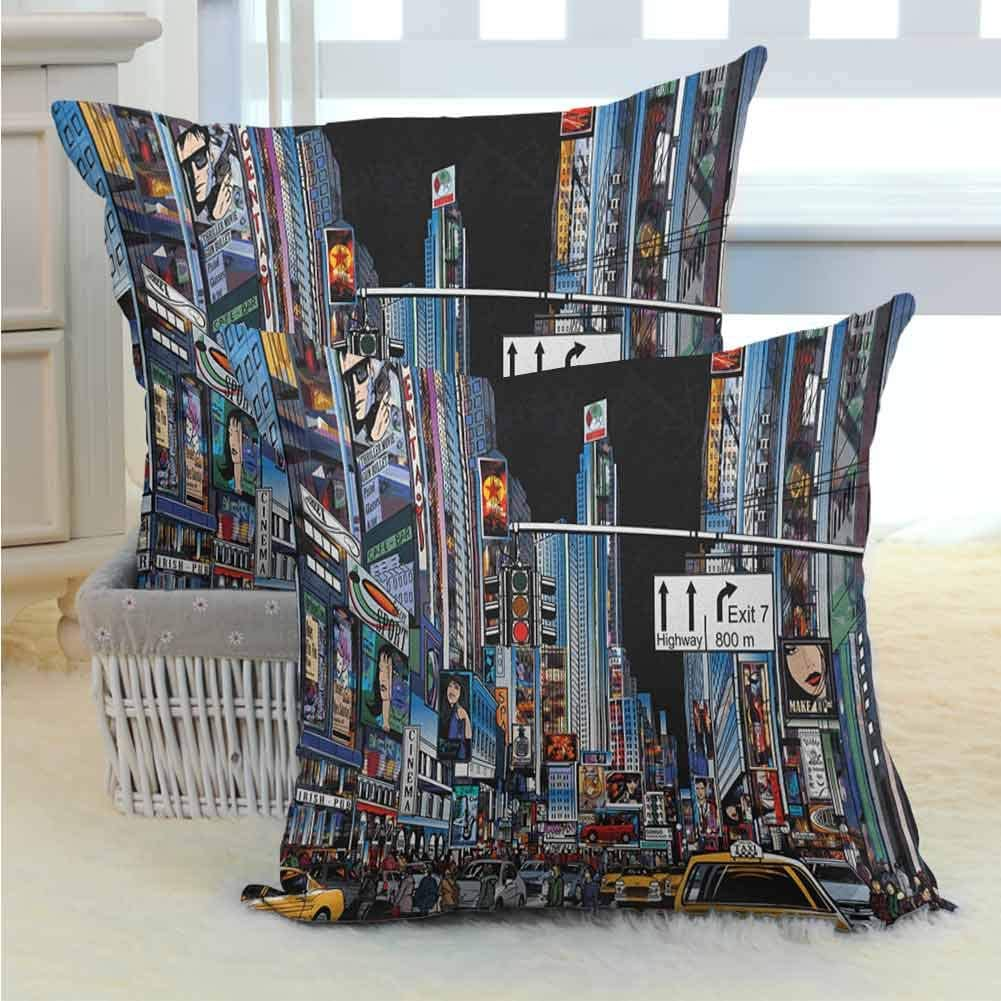 Mannwarehouse City Bedding Pillowcases Cartoon Style New York Night Scene Advertisements Crowded Streets Taxis Highway Exit Durable Decorative for Sofa Couch Home Outdoor Decor 2PCS Multicolor -