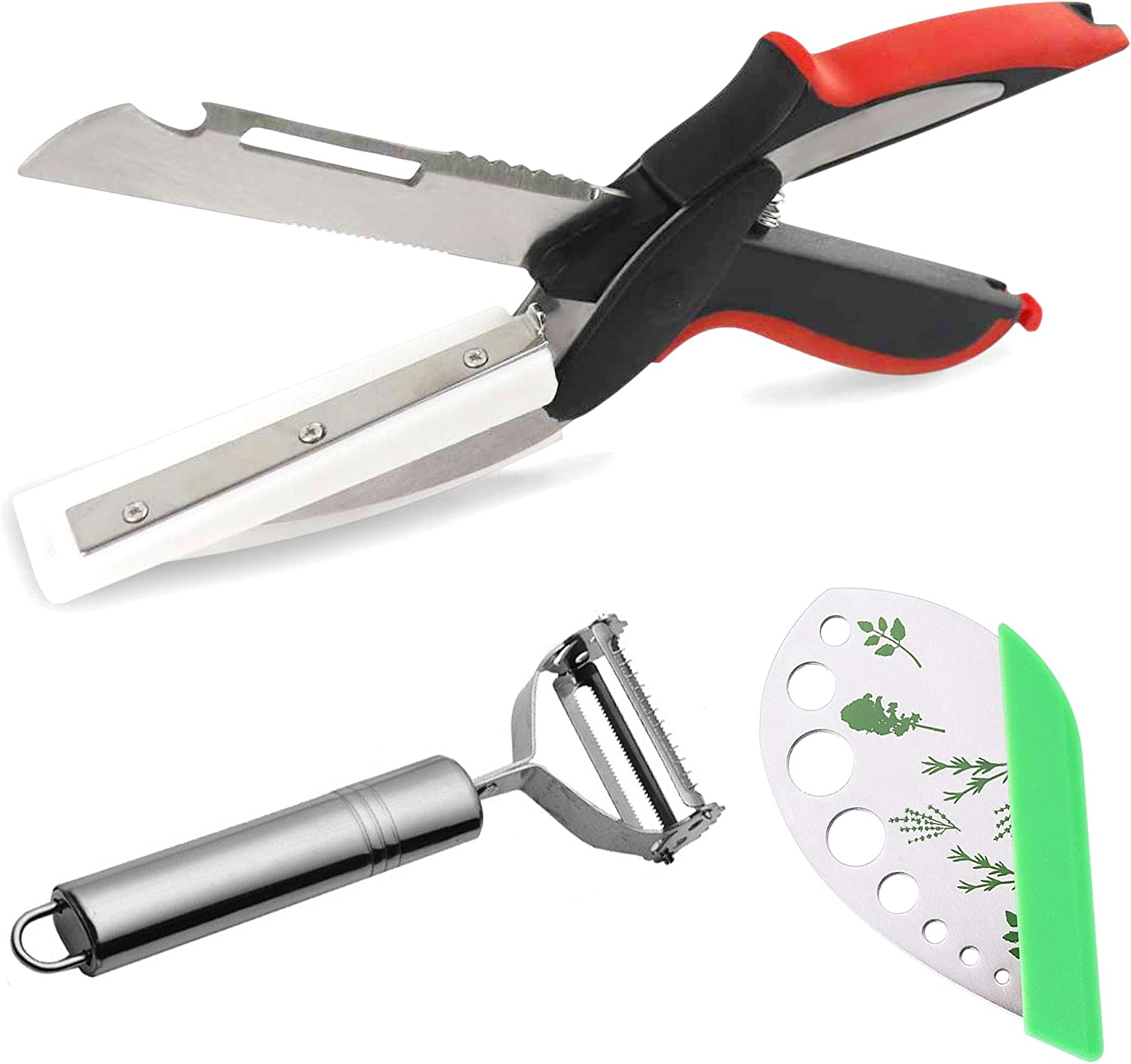 Clever Food Chopper Scissors, Herb Cutter, Vegetable Peeler, 2 in 1 Smart Cutter, Leaf Stripper 9 Holes with Chopper for Chopping Fruits, Vegetables, Meat, Cheese