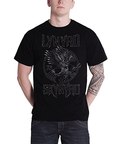 c55d31ce Amazon.com: Lynyrd Skynyrd T Shirt Eagle Guitar 73 Band Logo Official Mens  Black: Books
