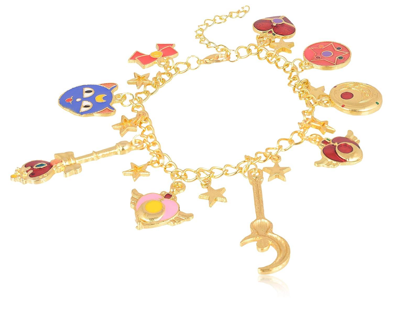 BR268 Accessorisingg Japanese Anime Sailor Moon Inpsired Gold Multiple Charm Bracelet