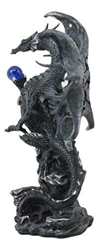 Ebros Draco Fantasy Gothic Dragon with Blue Orb Statue 8 Tall Land of The Dragons Home Decor Dragon Beast Sculpture