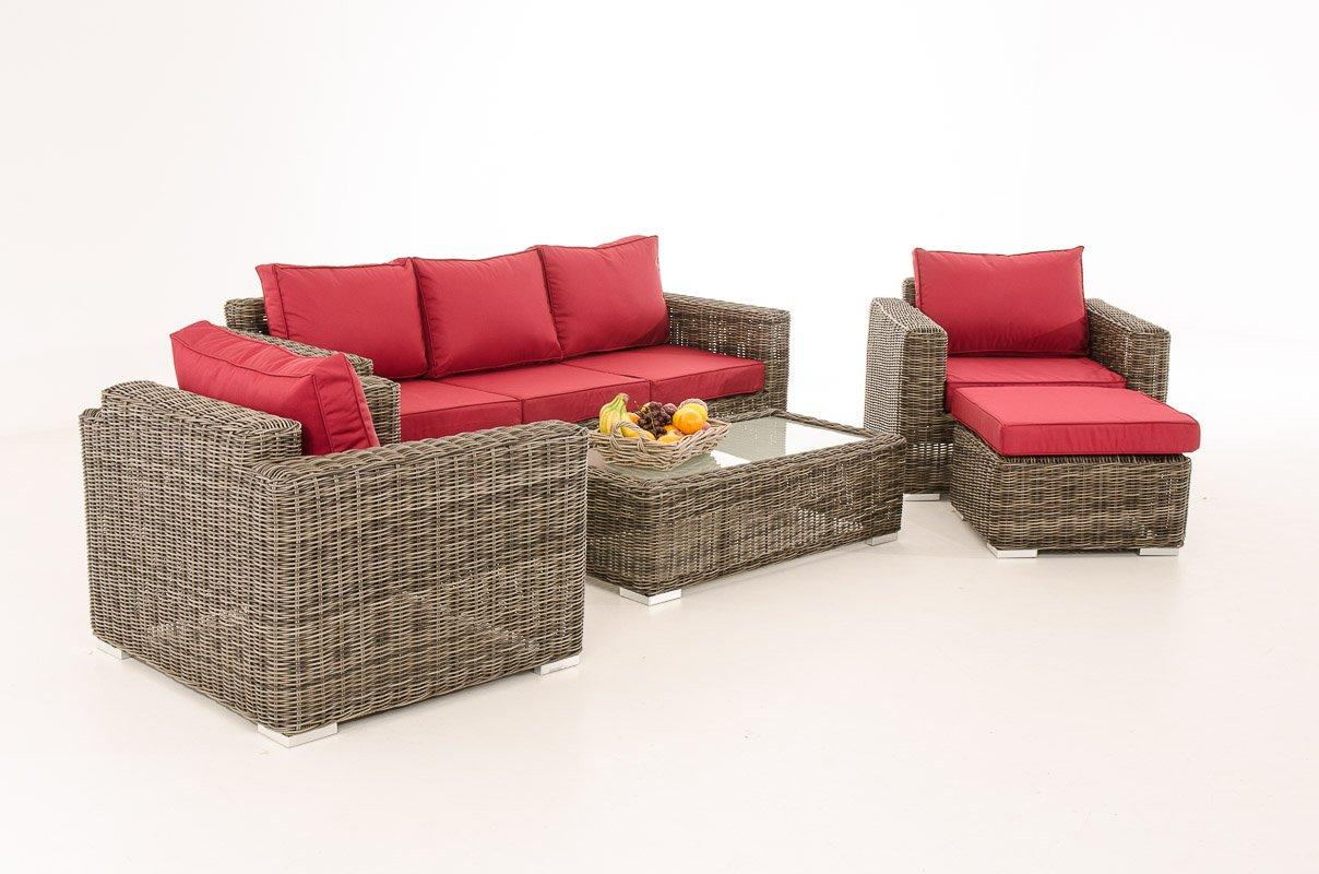 Mendler 3-1-1 Gartengarnitur CP053 Sitzgruppe Lounge-Garnitur Poly-Rattan ~ Kissen rubinrot, grau-meliert
