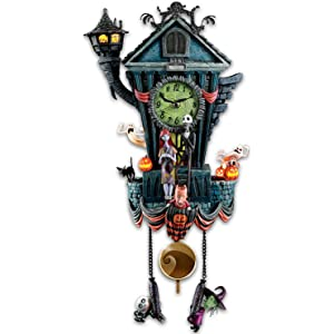 Bradford Exchange The Cuckoo Clock: Tim Burtons The Nightmare Before Christmas Wall Clock