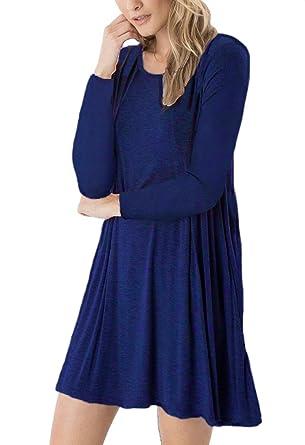 04a3d99f66e7 DEARCASE Women's Long Sleeve Swing Loose Flowy Short Casual Tunic ...